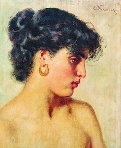 Konstantin Yegorovich Makovsky - Portrait de dark-haired beauté