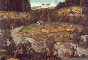 Achat Reproductions D'art | le cerf chasse, 1540 de Lucas Cranach The Elder (1472-1553, Germany) | WahooArt.com