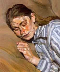 Lucian Freud - Girl in Chemise de nuit à rayures