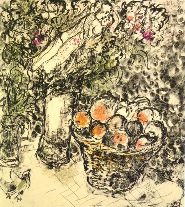 couple et panier avec fruits lithographie de marc chagall 1887 1985 belarus. Black Bedroom Furniture Sets. Home Design Ideas