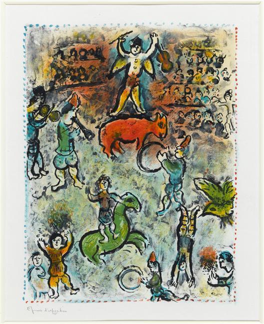 parade dans cirque lithographie de marc chagall 1887 1985 belarus. Black Bedroom Furniture Sets. Home Design Ideas