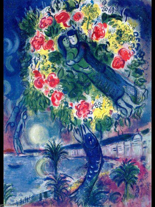 couple et poisson lithographie de marc chagall 1887 1985 belarus. Black Bedroom Furniture Sets. Home Design Ideas