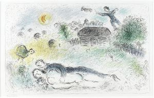 Marc Chagall - Lovers près isba