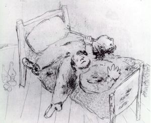 Marc Chagall - inclinable sur l- lit