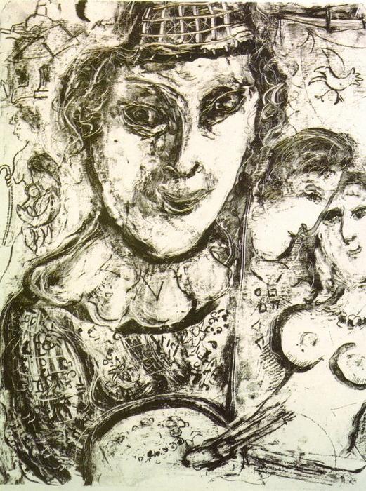 autoportrait lithographie de marc chagall 1887 1985 belarus. Black Bedroom Furniture Sets. Home Design Ideas