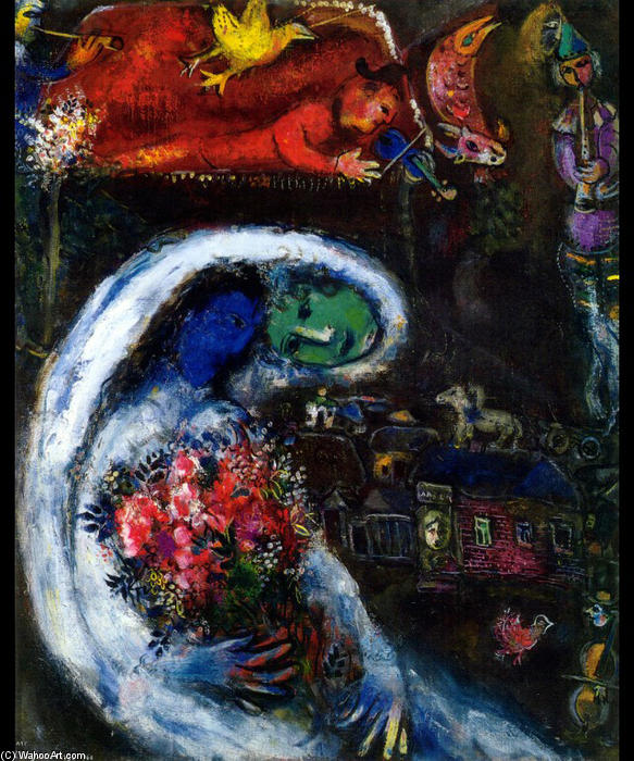 avec bleu visage, huile sur toile de Marc Chagall (1887-1985, Belarus)