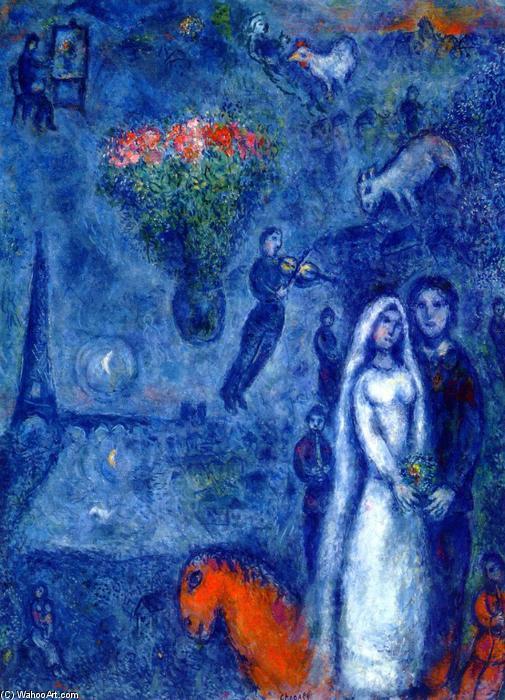 et la sienne mariée, huile sur toile de Marc Chagall (1887-1985 ...