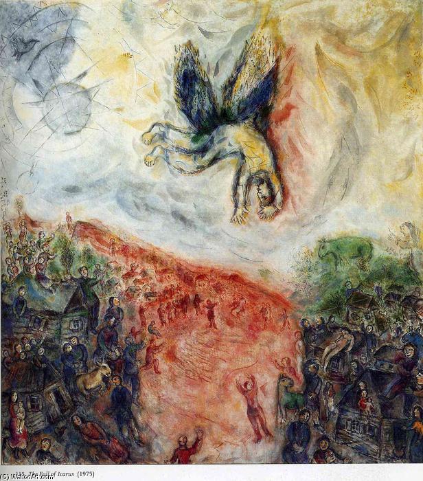 La Chute d Icare, 1975 de Marc Chagall (1887-1985, Belarus)      WahooArt.com