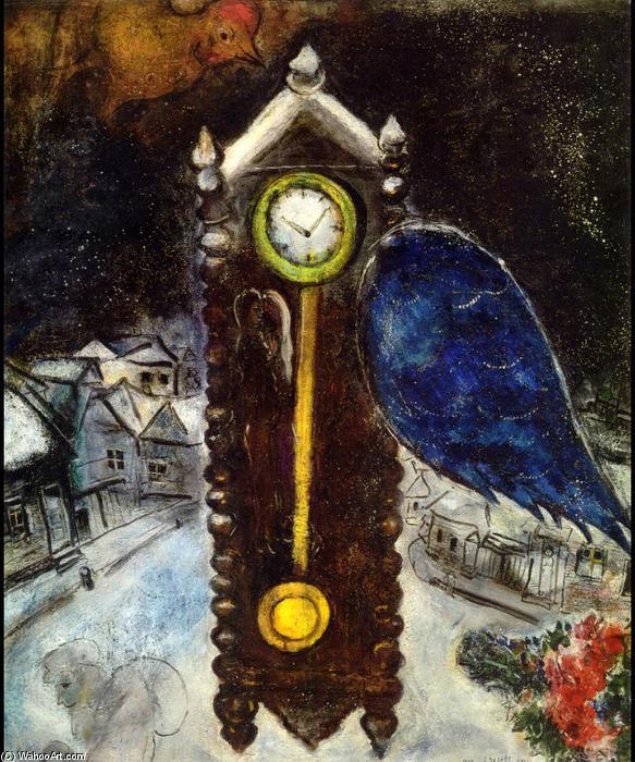 Horloge avec blue wing huile sur toile de marc chagall for Chagall tableau