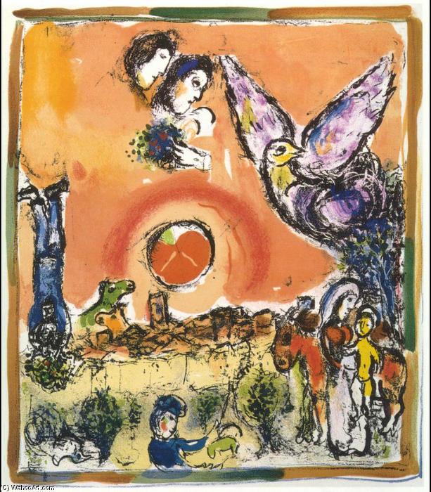 soleil sur saint paul de vence lithographie de marc chagall 1887 1985 belarus. Black Bedroom Furniture Sets. Home Design Ideas