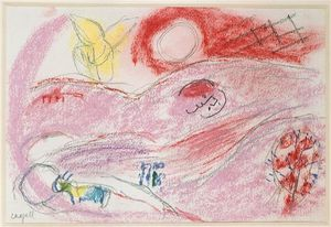 Marc Chagall - 'Study afin ''Song de chansons V'''