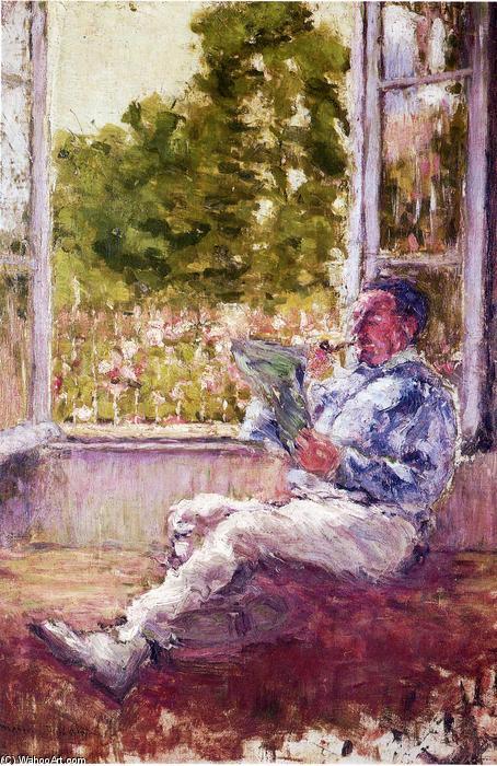 Homme assis par un fen tre huile sur toile de marcel for Assis a la fenetre