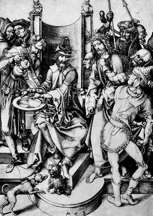 Le Christ devant Pilate de Martin Schongauer (1448-1491, Germany)