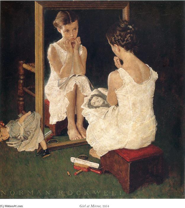 Fille miroir huile sur toile de norman rockwell 1894 for Fille au miroir