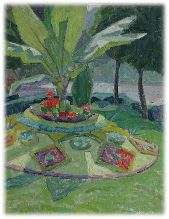 paysage avec palmiers et parterre de fleurs en fleurs. Black Bedroom Furniture Sets. Home Design Ideas