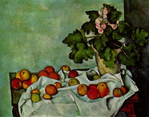 Paul Cezanne - Nature morte avec des géraniums de fruits Stock