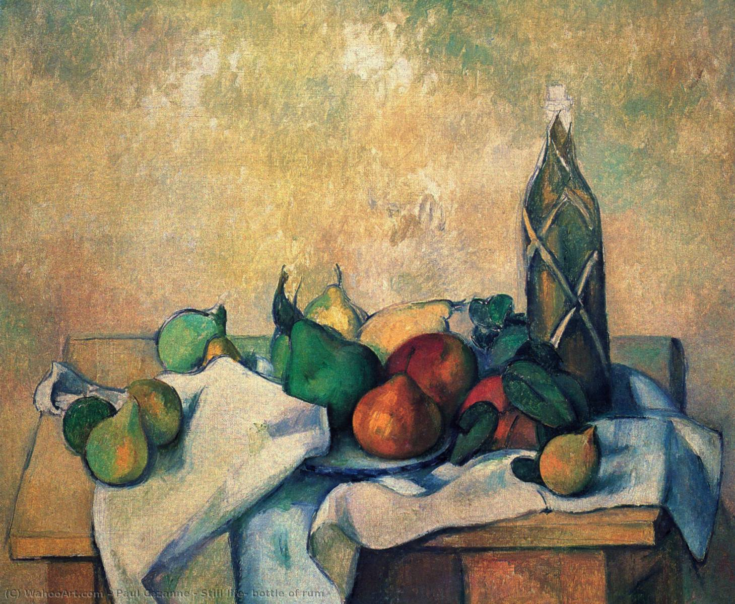 Nature Morte bouteille de biscornu, 1890 de Paul Cezanne (1839-1906, France) | Reproductions D'œuvres D'art Paul Cezanne | WahooArt.com