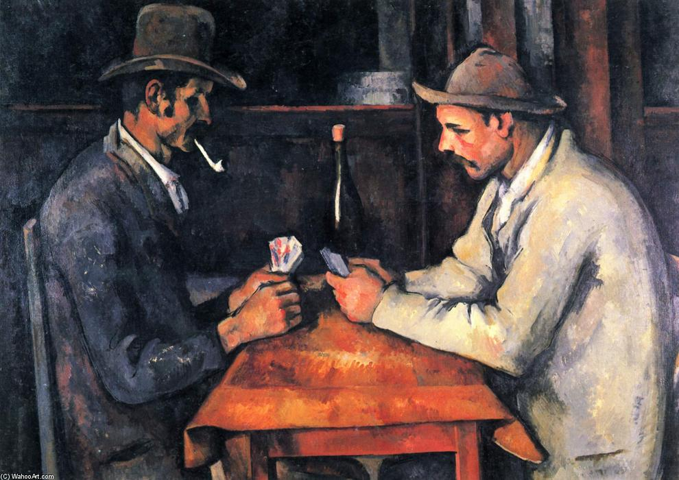 les joueurs de cartes, 1893 de Paul Cezanne (1839-1906, France) | Reproductions D'art Paul Cezanne | WahooArt.com