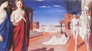 Paul Delvaux - Ville rouge
