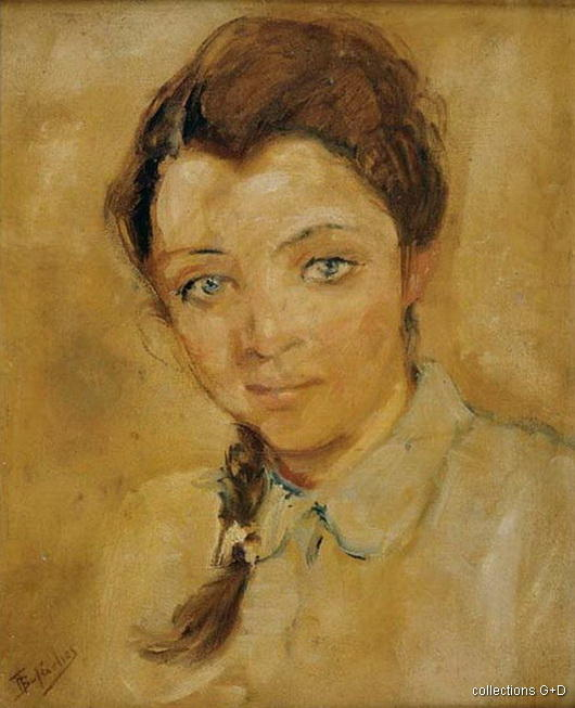Portrait d une fille de Periklis Vyzantios (1893-1972, Greece)