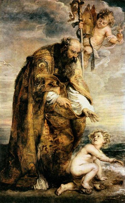 St . Augustine, 1638 de Peter Paul Rubens (1577-1640, Germany) | Reproductions De Peintures Peter Paul Rubens | WahooArt.com