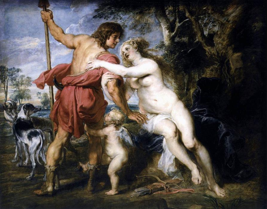Venus und Adonis, 1635 de Peter Paul Rubens (1577-1640, Germany) | Reproductions De Qualité Musée Peter Paul Rubens | WahooArt.com