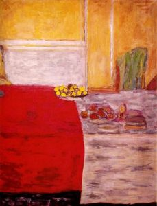 Pierre Bonnard - fruits en avant à l rouges tapis