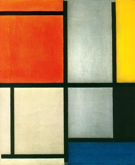 Tableau 3 l 39 orange red jaune noirs bleu et gris for Tableau jaune et gris