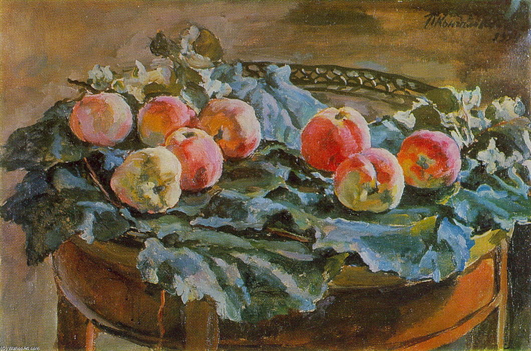 Still Vie . Apples à l table ronde ., 1934 de Pyotr Konchalovsky (1876-1956, Russia)