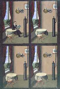 Rene Magritte - homme lecture une  journal