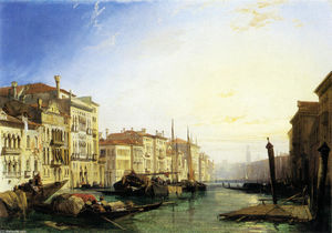 Richard Parkes Bonington - venise grand canal Coucher du soleil