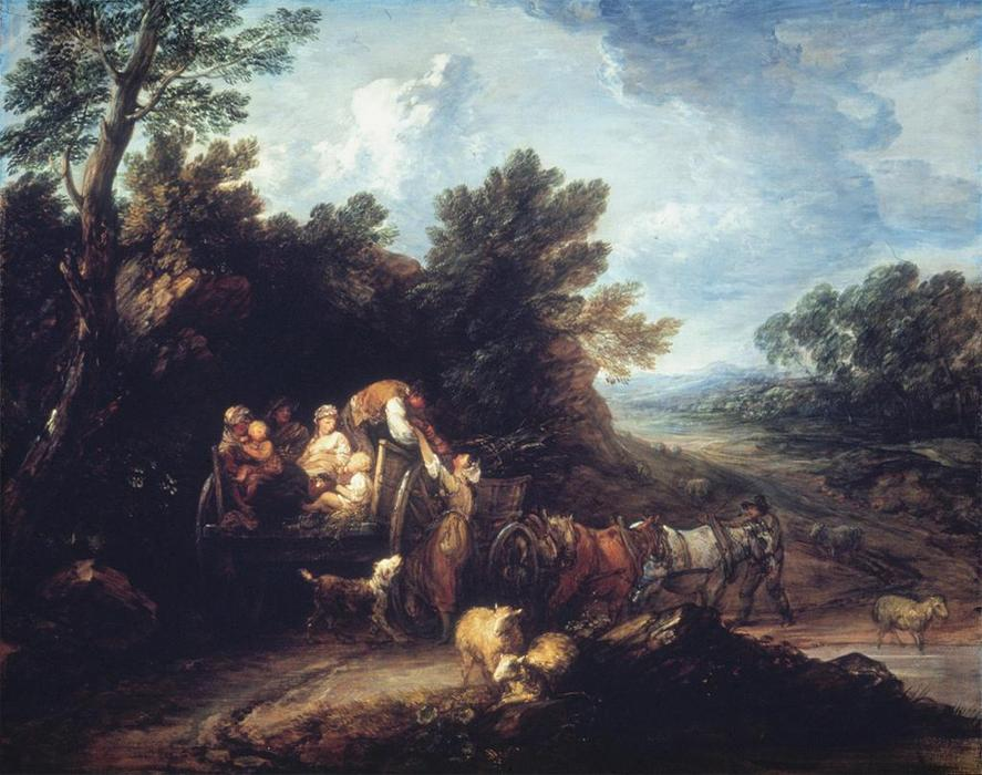 The Harvest Wagon, 1784 de Thomas Gainsborough (1727-1788, United Kingdom) | Reproductions D'art De Musée Thomas Gainsborough | WahooArt.com