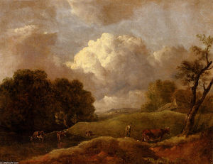 Thomas Gainsborough - Un vaste paysage de bétail et un bouvier