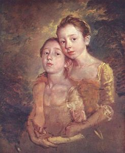 Thomas Gainsborough - portrait de le `artist-s` fille à une mégère
