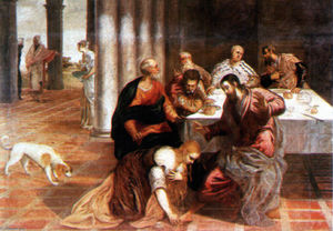 Tintoretto (Jacopo Comin) - Christ la maison of le pharisien