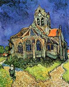 Vincent Van Gogh - l eglise à auvers - (reproduction de peintures célèbres)