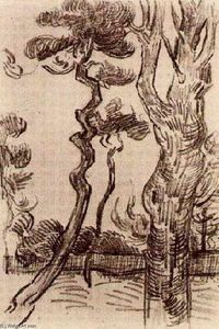 Vincent Van Gogh - Pine trees vu contre l Wall of l-asile
