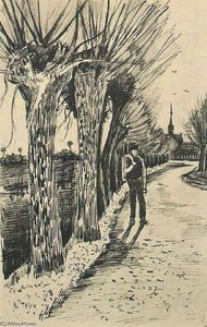 Vincent Van Gogh - Route avec Pollard Willows