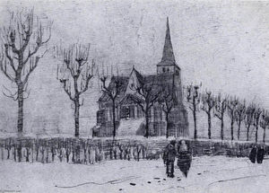 Vincent Van Gogh - Le Church dans Nuenen dans Winter