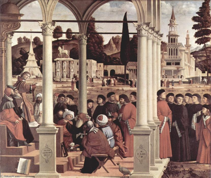 Discussion of r . Stephen, huile sur toile de Vittore Carpaccio (1465-1526, Italy)