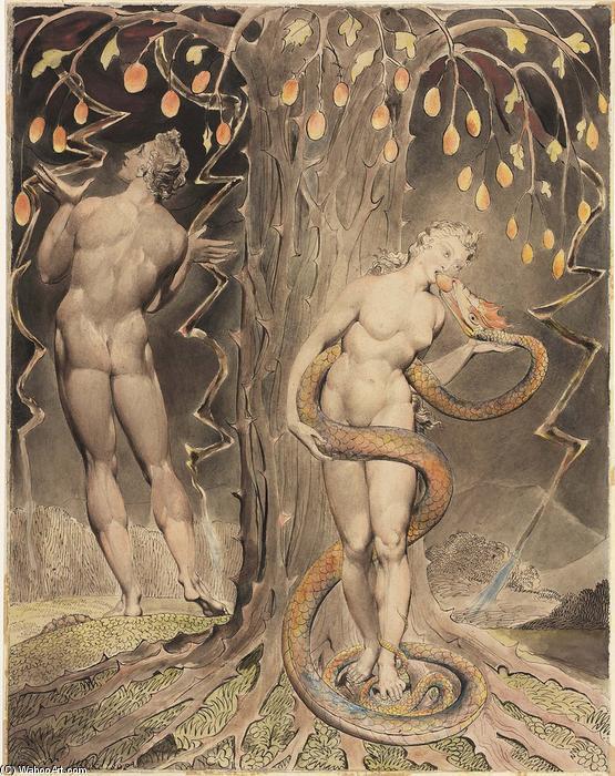 La tentation et la chute d Eve, 1808 de William Blake (1757-1827, United Kingdom) | Reproductions D'œuvres D'art William Blake | WahooArt.com