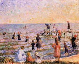 William James Glackens - Baignade à Bellport, Long Island