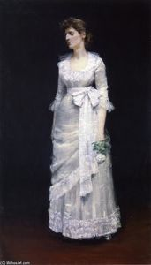 William Merritt Chase - Dame en blanc robe