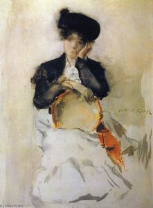 William Merritt Chase - Fille avec Tambourine