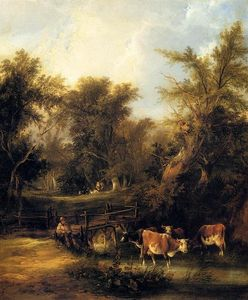William Shayer Senior - cattle` par un ruisseau