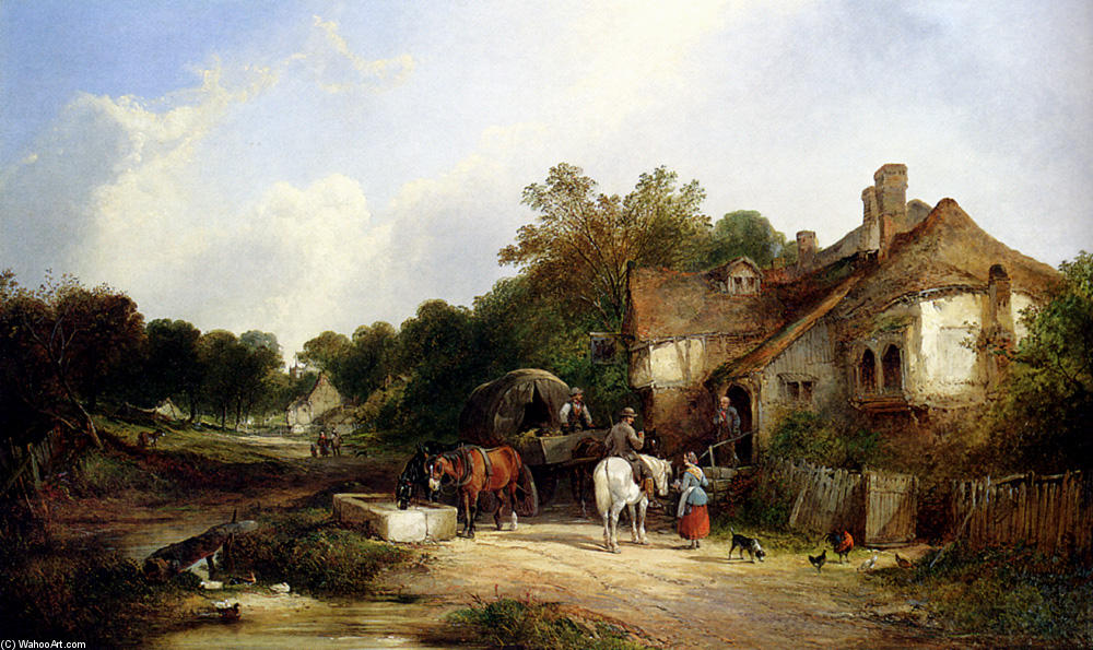 Le Road Side Inn, Somerset de William Shayer Senior (1788-1879, United Kingdom) | Reproductions D'œuvres D'art William Shayer Senior | WahooArt.com