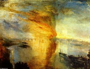 William Turner - la combustion de  la  maisons  de  parlement