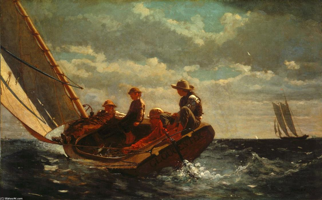 Breezing Up (A Fair Wind), 1876 de Winslow Homer (1836-1910, United States) | Reproductions D'art Winslow Homer | WahooArt.com