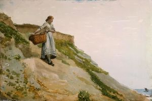 Winslow Homer - fille à transport une corbeille