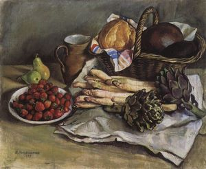 Zinaida Serebriakova - nature morte avec asperges et `strawberries `